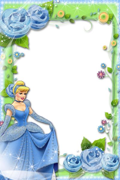 Transparent Blue Green Kids Frame with Princess