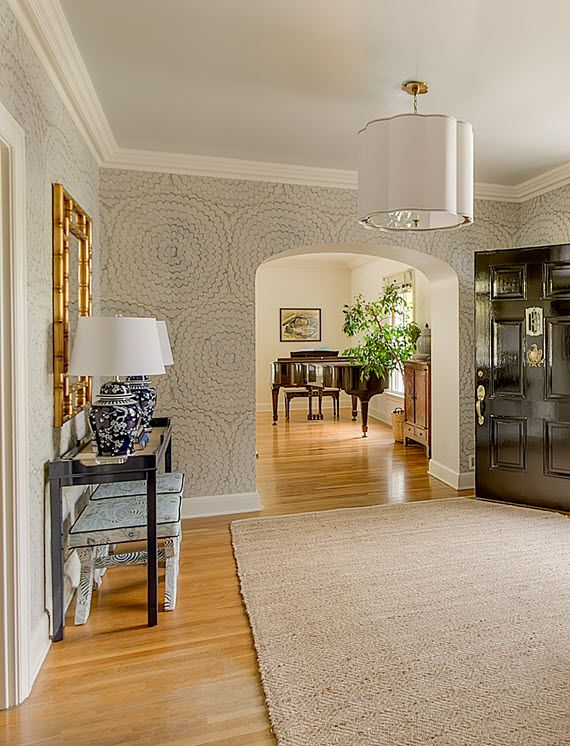 398 best wallpaper images on pinterest for Entry hall wallpaper ideas