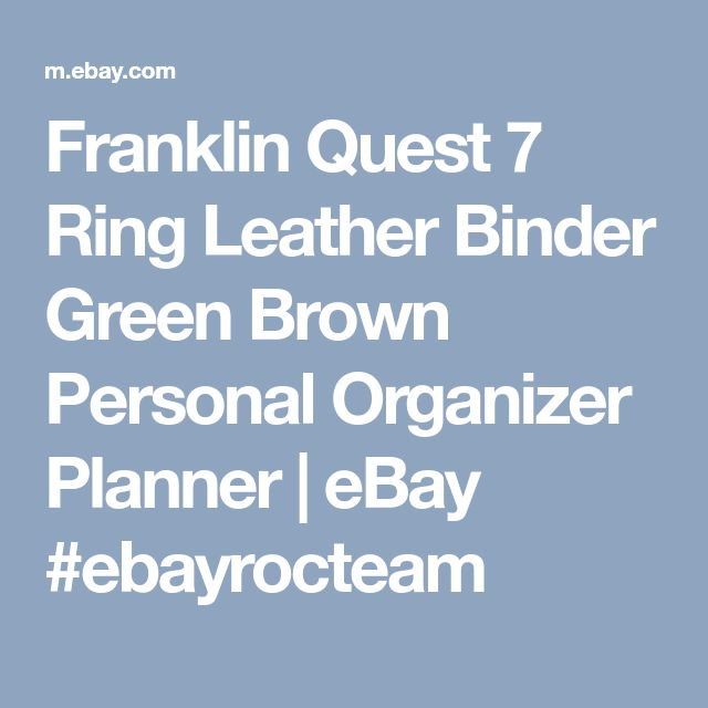Franklin Quest 7 Ring Leather Binder Green Brown Personal Organizer Planner |  eBay #ebayrocteam