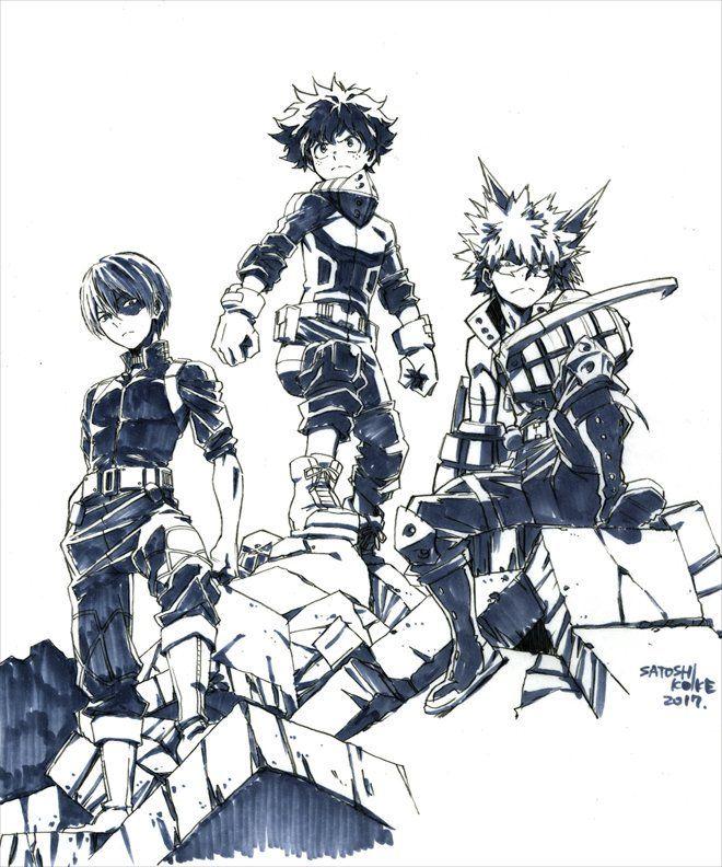"theinktask: "" Shôto Todoroki, Izuku Midoriya et Katsuki Bakugô de My Hero Academia, vus par @pikapi_n, (Satoshi koike) responsable de l'animation sur Sergent Keroro """