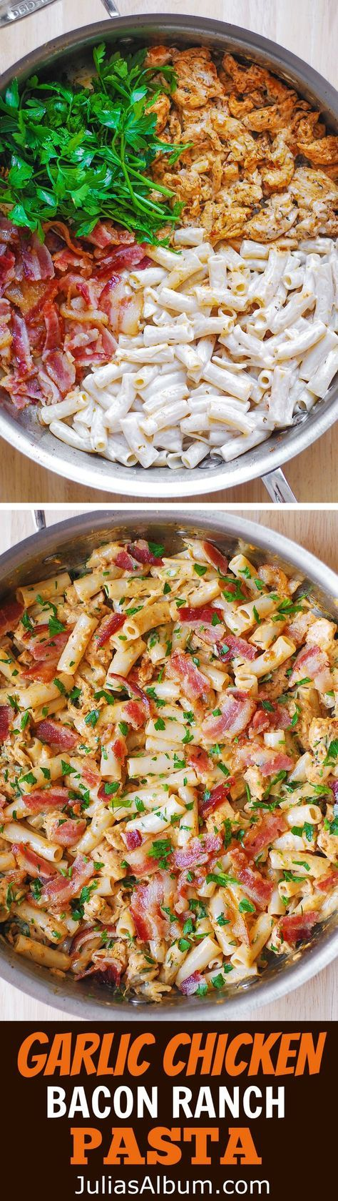 Garlic Chicken, Bacon, and Ranch Pasta - easy, comfort food dinner recipe. Chicken cooked in olive oil, with garlic, paprika, chili powder, and Italian seasoning, then combined with bacon, Ranch dressing and pasta