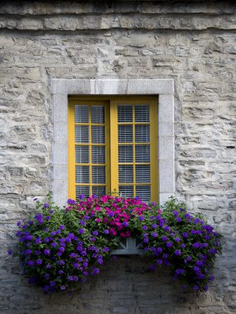 A Lovely stone house with a yellow window contrasting blue flowers in a window box.