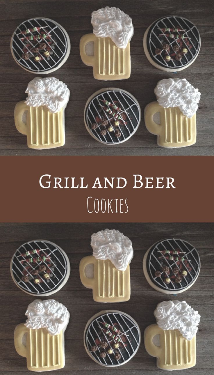 Grill and Beer Sugar Cookies ~ Party Cookies ~ 1 Dozen Custom Cookies Father's Day Cookie Ideas #affiliate