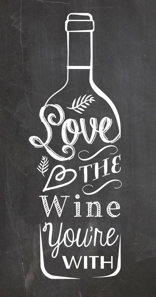 chalkboard style kitchen art poster typography love the wine you're with