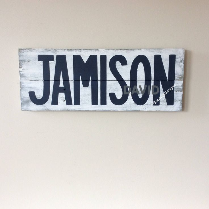 Custom Nursery Baby Name sign. Personalized name sign. Over the door sign.First and Middle name. Rustic reclaimed pallet. Custom Door Hanger by GrayKeyDesigns on Etsy https://www.etsy.com/listing/524232830/custom-nursery-baby-name-sign