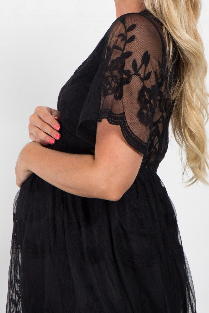 Black Lace Mesh Overlay Maxi Dress