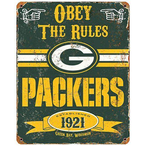 NFL Football Greenbay Packers Logo Vintage Obey Rules Met...
