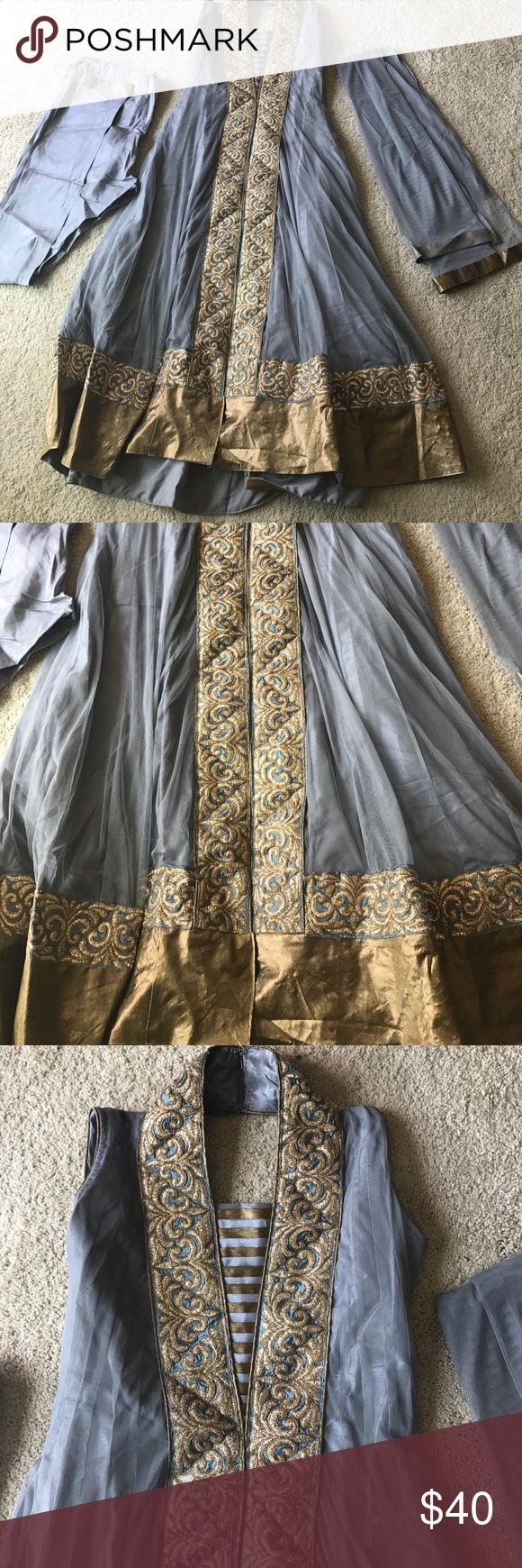 Gray churidar anarkali Gray churidar anarkali with gold border Other