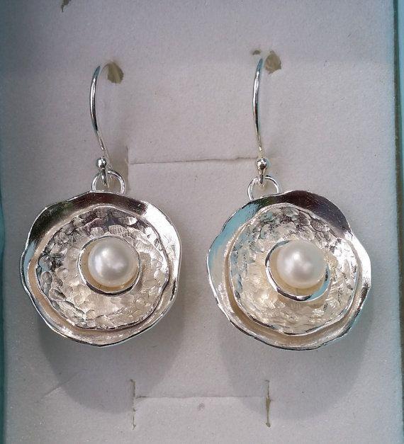 Pearl Silver Earrings Sterling Silver 925 Dangle by TalyaDesign