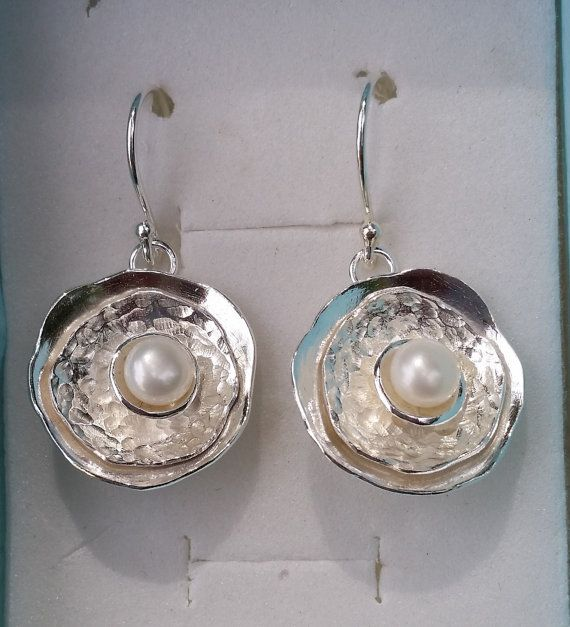 Pearl Silver Earrings Sterling Silver 925 Dangle by TalyaDesign