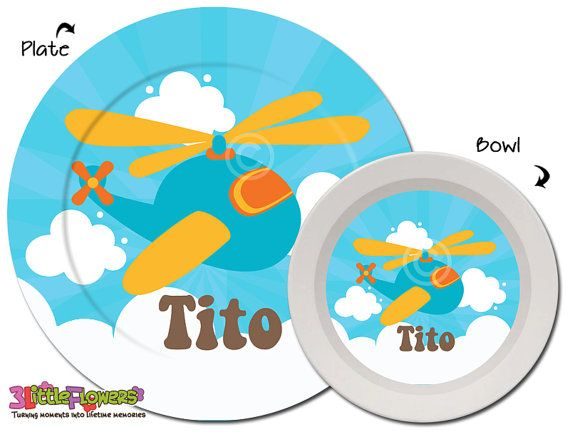 Helicopter Plate and Bowl Set - Aviation Theme - Personalized Melamine Children Plate and Cereal Bowl - Kids Dishes for Mealtime