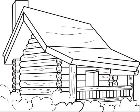 Free Printable Log Cabin Coloring Page For Kids Coloring