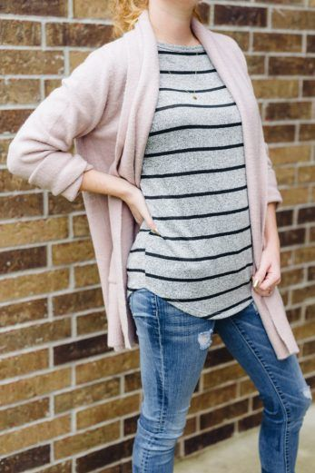 Love this layering - Betta Pocket Detail Open Cardigan over the Corinna Striped Dolman #stitchfixstyle