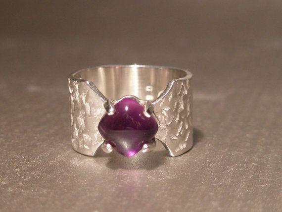 Amethyst sterling silver ring spiritual by SILVERSTONEbyRenata