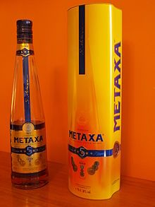 Metaxa is a Greek liquor invented by Spyros Metaxas in 1888. It is a blend of brandy, spices, and wine, with wine not being present in some of the more expensive editions of the product to allow for a drier taste. It was the first liquor consumed in space.