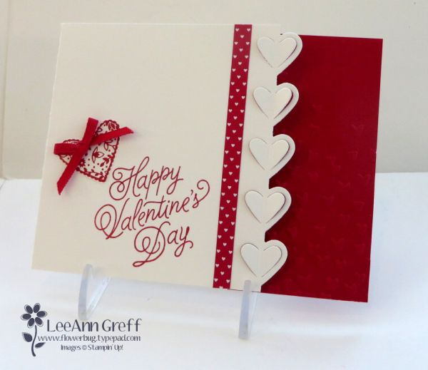 """Today is my new catalogs Open House (Friday, January 6th from 4-7 pm) and this is the card they can make free when they attend: I chose to use the Sealed with Love bundle here. It's classic Red & White with quite a few new products. That pretty hearts edgelit is part of the Love Notes Framelits dies. Isn't it pretty? It cuts so cleanly without the need for the Precision Base Plate. The card is 4 1/4"""" square and..."""