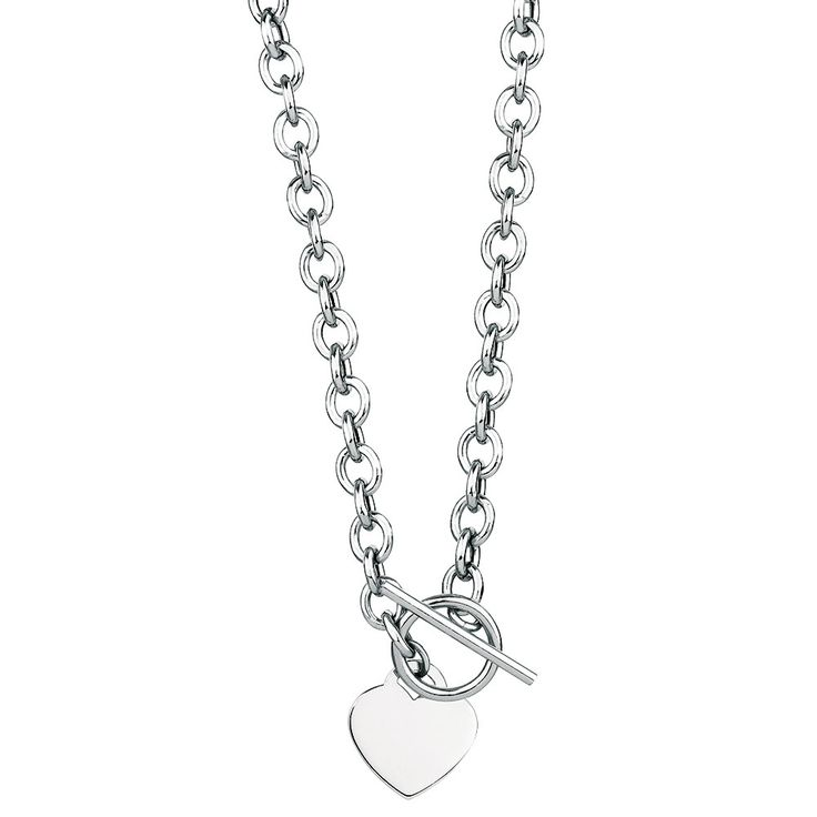 Wear your heart on your sleeve with this eye catching, sterling silver cable chain with heart-shaped disc.