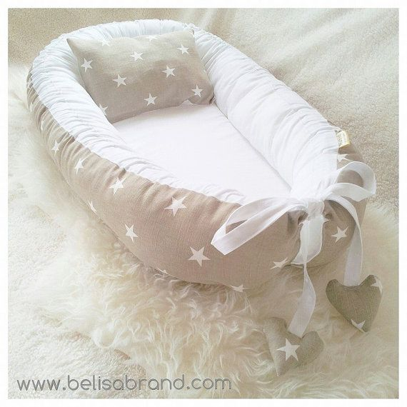 Sand  Big white stars Baby nest  Babynest by BelisaBrand on Etsy