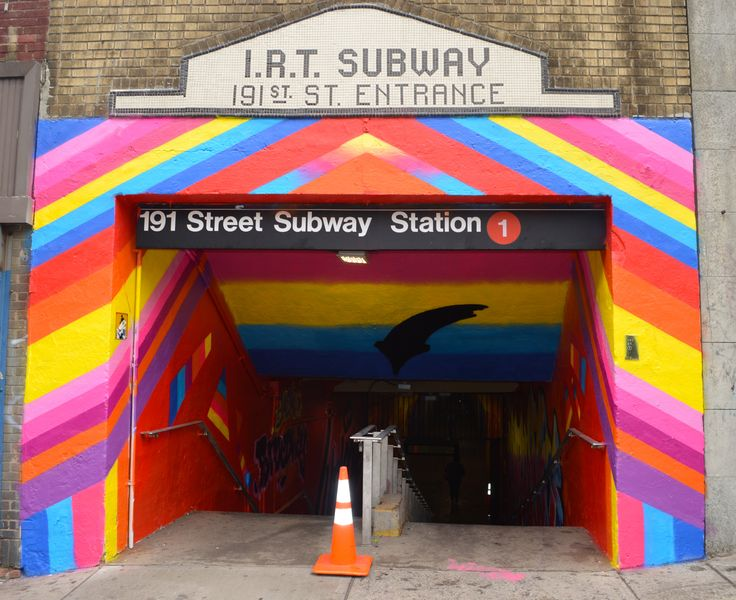 The 191st Street tunnel which connects Saint Nicholas Ave. with Broadway on the 1 Line in Washington Heights is now home to five dazzling, giant murals tha