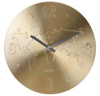 Zegar ścienny, mapa świata 35 cm - złoty