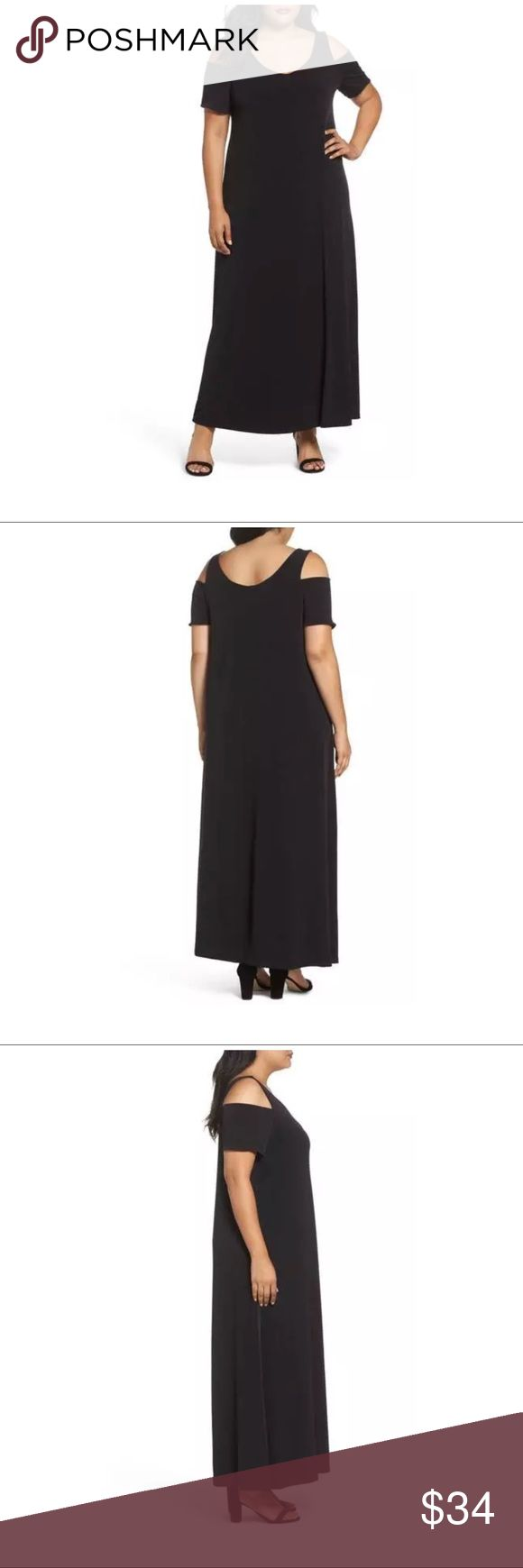 """$99 NEW Sejour for Nordstrom Cold Shoulder MaxI New without tags. In stores now for $99 + tax Model photos to show fit  Black Cold shoulder style Stretch Lined  Size 14 W- designer/size tag has been removed to prevent returns- refer to measurements   Measures approximately: total length 57"""" bust across 22""""  High end department store shelf pull- new without tags. May have had customer contact *Had deodorant on sides from being tried on in stores. Has been washed, air dried. Ready to wear…"""