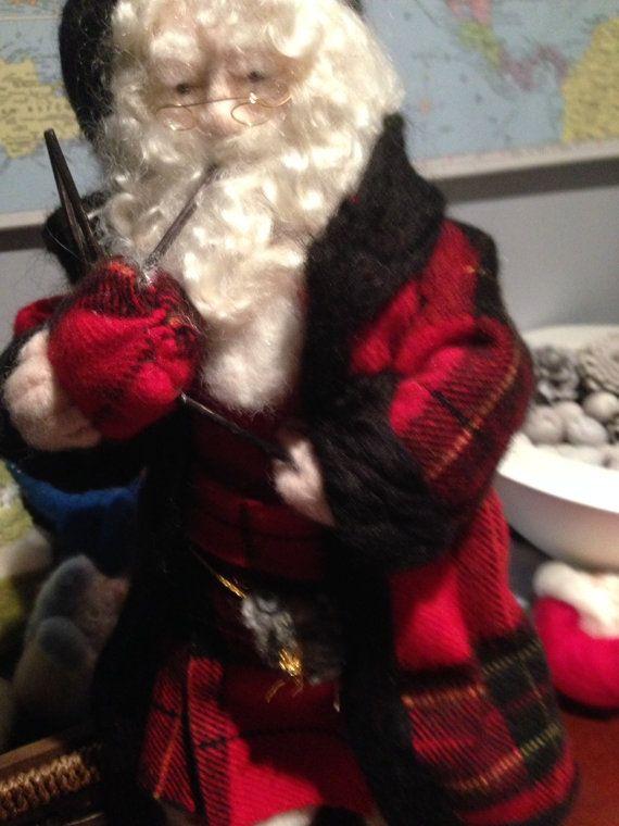 Needle felted Very Handsome Scottish Santa by KozyFibreArt on Etsy, $100.00