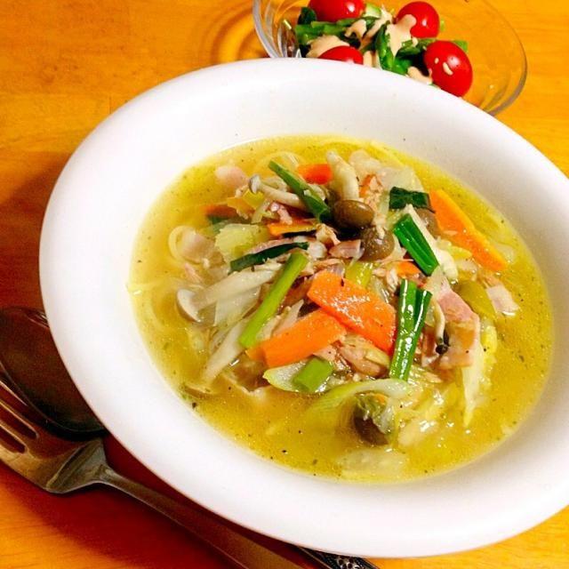 晩御飯はあったかスープスパゲティ - 26件のもぐもぐ - 白菜とベーコンとツナの柚子胡椒スープスパゲティ by fighterscurry