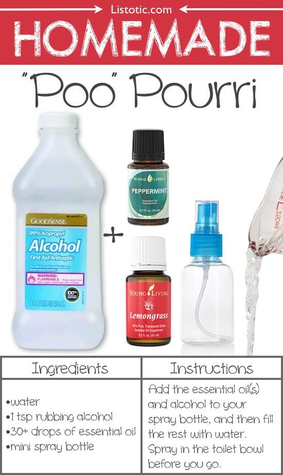 #12. Homemade Poo Pourri -- Spray it in the toilet BEFORE you go! This stuff is AMAZING! 22 Everyday Products You Can Easily Make From Home (for less!) These are all so much healthier, too! Listotic.com