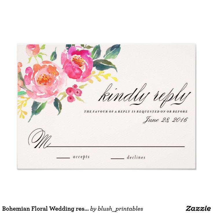 Tarjeta floral bohemia de la respuesta del boda