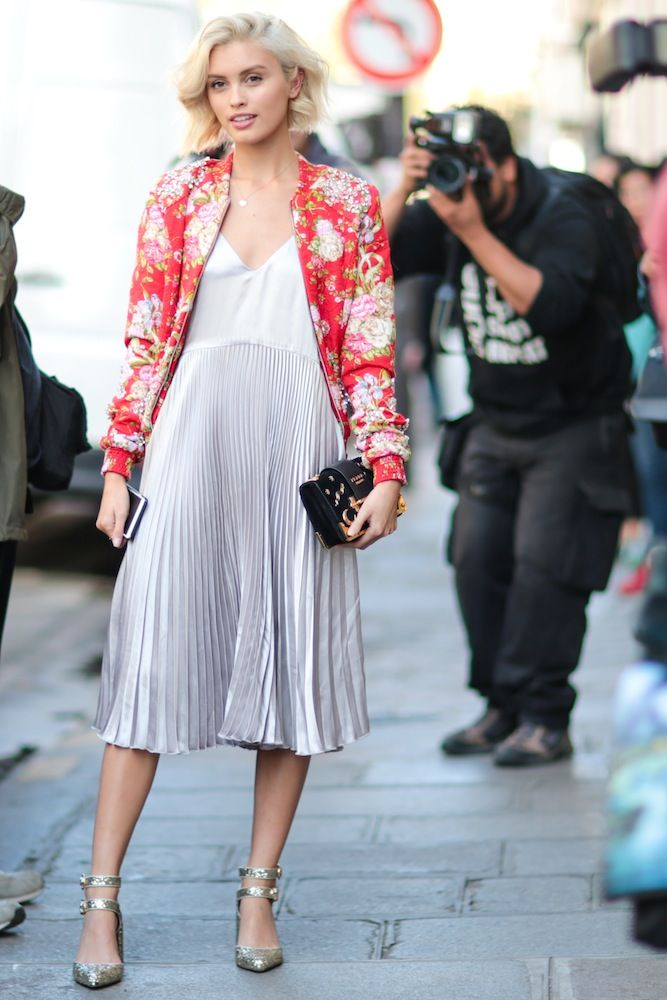 bright floral jacket with metallic silver pleated slip dress