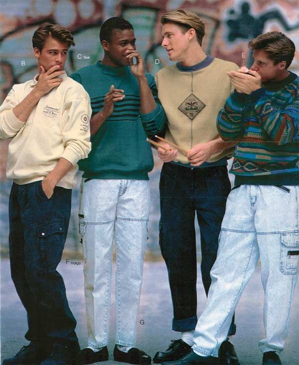 Mens fashion included more sweaters with patterns, likw stripes, and baggy pants with a lot of pockets.