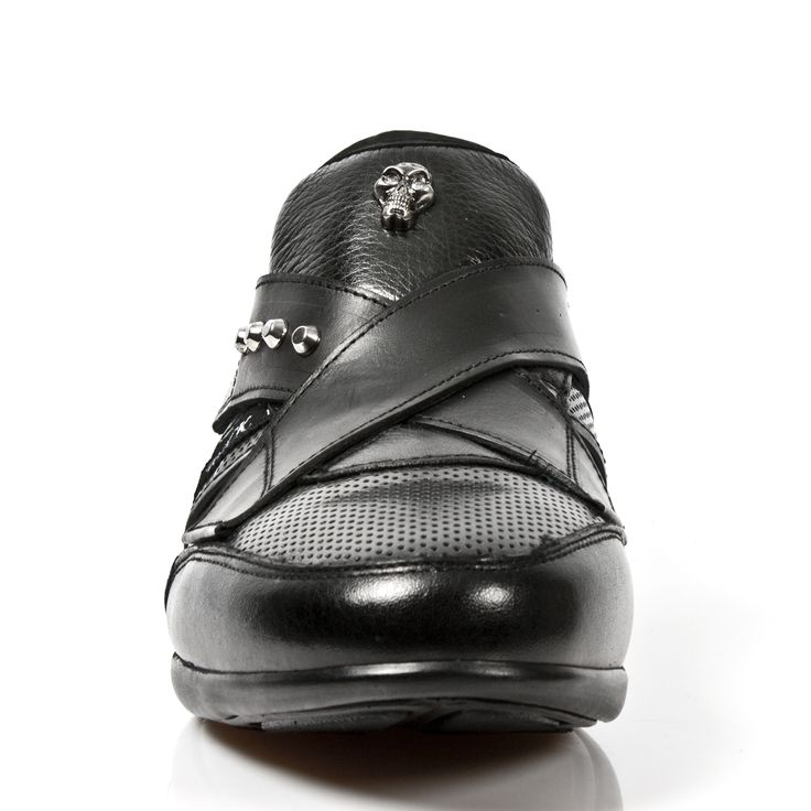 Black Leather Hybrid Dress Sneakers from New Rock Shoes. One velcro fastener to adjust for comfort and fit. Metal on the heels. Small metal skull and studs on top of shoe. Available in all Unisex Sizes. 25 - 35 days delivery. NOW ONLY $229.99 w Shipping Included! http://www.newrockbootsusa.com/Black-Leather-Hybrid-Shoes_p_2451.html