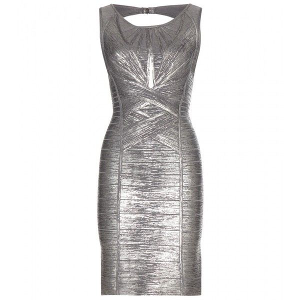 Hervé Léger Marella Metallic Bandage Dress ($2,130) ❤ liked on Polyvore featuring dresses, gowns, silver, white bandage dress, silver dress, silver gown, bandage dress and white dress