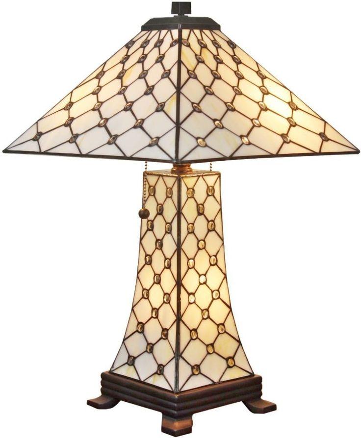 3-Light Table Lamp Jeweled Mission Pull Chain Downlight Metal Glass Lighting #JeweledTableLamp