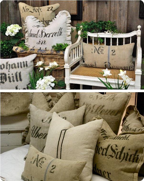 More old barn, grain sacks. Pillows.