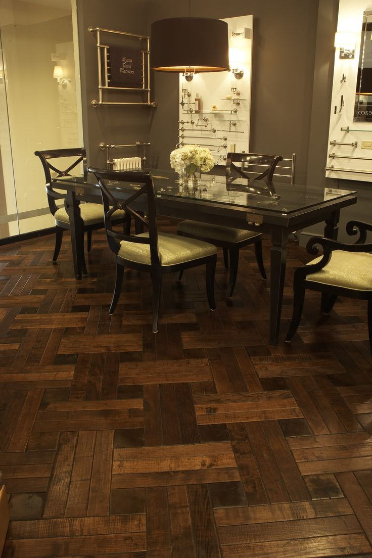 Legendary Hardwood Floors_Katonah Showroom - Reclaimed Ash Basketweave with  Oak Cobblewood Centerblocks