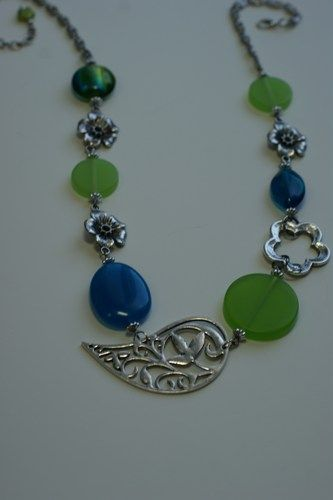 Long necklace - Mi-long necklace - Turquoise  and lime necklace