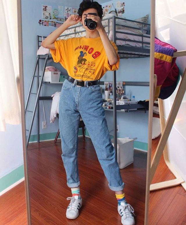 Yellow Shirt Blue Mom Jeans Black Belt Retro Outfits Aesthetic Clothes Fashion