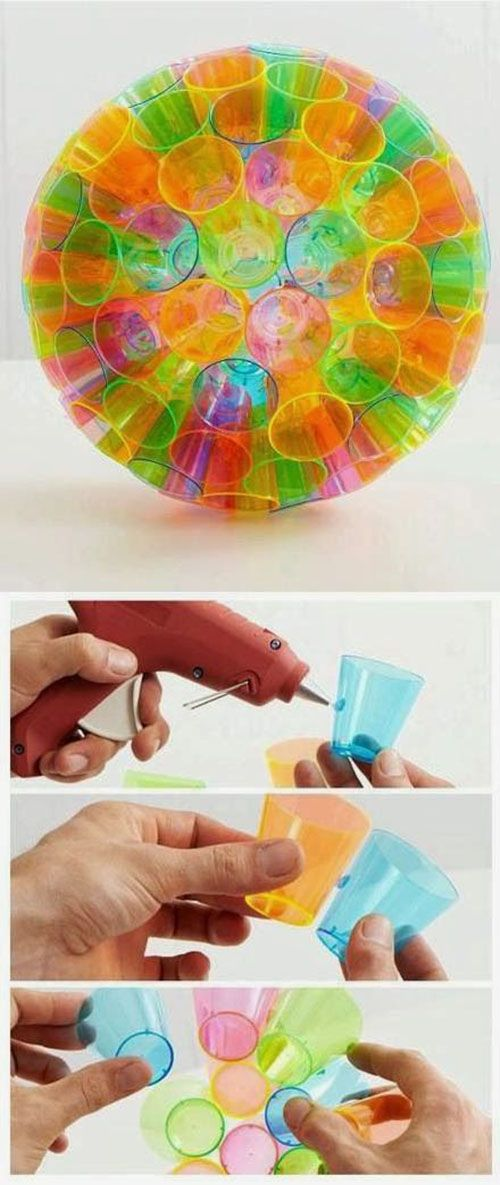 Art project!! Colorful Cup Craft | DIY  Crafts Tutorials | maybe stick a light in the middle for a fun, funky hanging lamp.