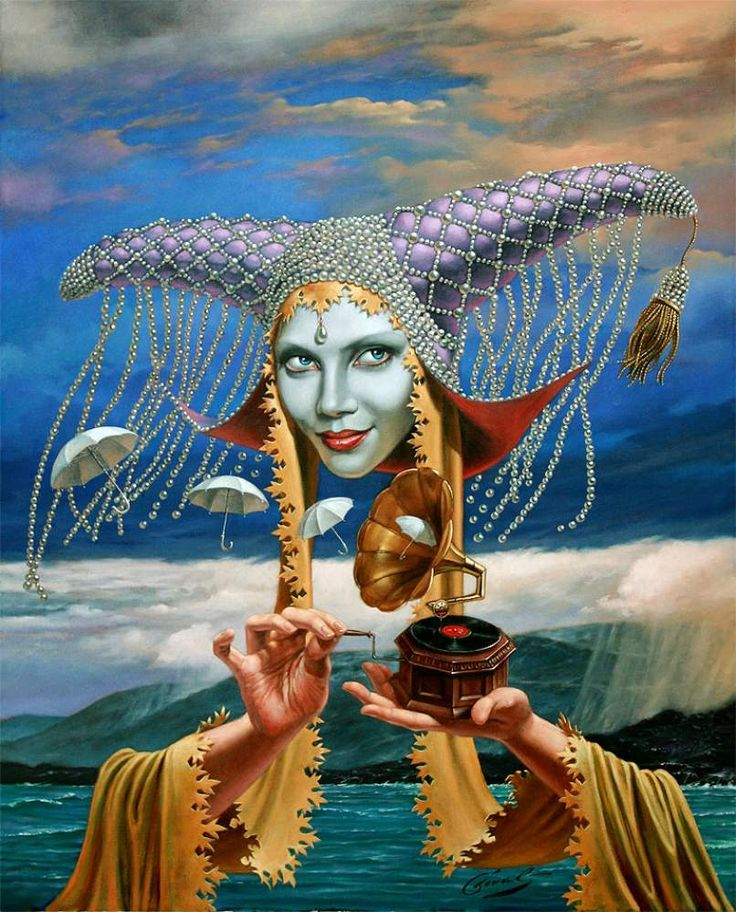 """Melody of the Rain"" by Michael Cheval, Limited edition print, 30 x 24 Giclee on Canvas, also available in Giclee on Aluminum from the ""Playhouse of Quintessence"" Series"