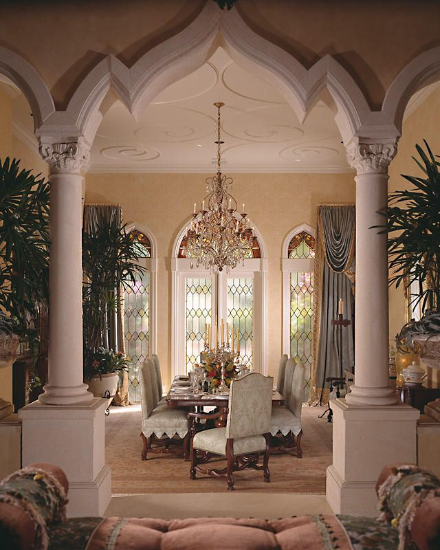Mediterranean Dining Room Design...wow does, ceiling, arches, columns...wow.