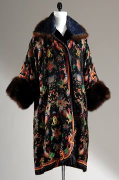 Coat c. 1921? Lucile, Ltd. was known for its use of exotic motifs and silhouettes. This coat from the Paris branch reflects the taste for chinoiserie found in French fashions around 1923.