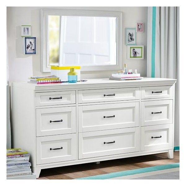 PB Teen Hampton 9-Drawer Dresser, Smoked Gray ($1,149) ❤ liked on Polyvore featuring home, furniture, storage & shelves, dressers, white 6 drawer dresser, antique white furniture, storage dresser, home storage furniture and white drawer dresser