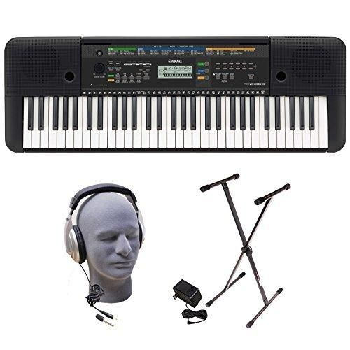 Yamaha PSRE253 61-Key Portable Keyboard Bundle with Headphones Power Supply andStand