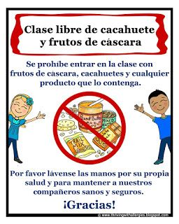 Thriving With Allergies: Spanish Peanut and Tree-nut Free Classroom Signs: