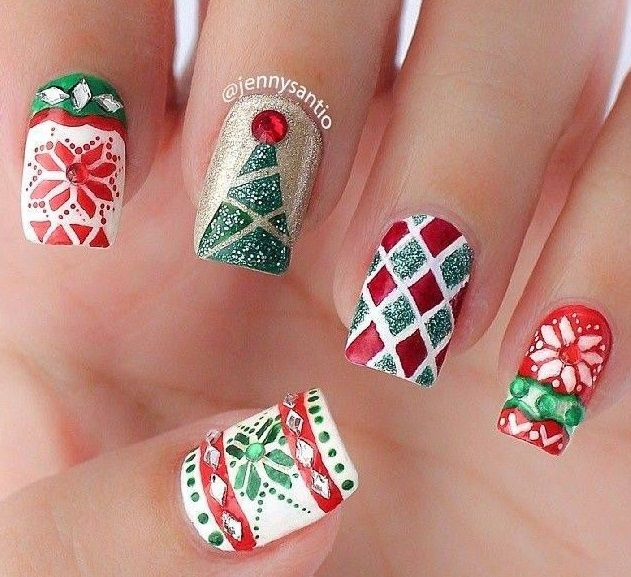 How To Try The Christmas Sweater Nair Art Design? A perfect and Christmas  ready nail art design. base coat afterwards. - 1739 Best Nail Art - Christmas And Winter Holidays Images On