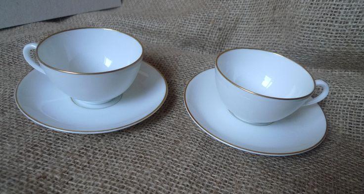 Scandinavian pottery Sweden Lidkoping Alp 2x Porcelain Coffee Cup & Saucer White