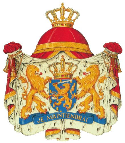 """The Coat of Arms of the Kingdom of the Netherlands. The banner, on which the two lions holding the shield appear to stand reads, """"Je maintiendrai"""" which is the Dutch motto; it is French for """"I will maintain."""""""
