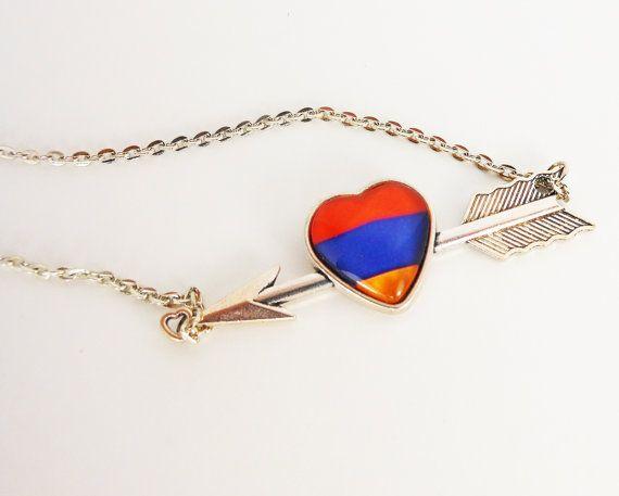 Armenian Flag Heart Necklace Armenian Necklace by DoniainArt