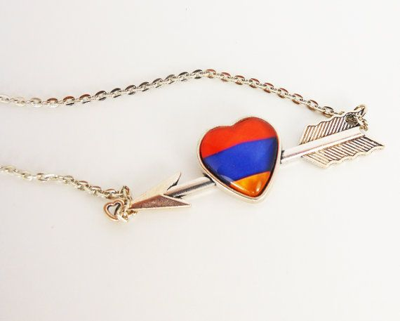 Armenian Flag Heart Necklace Armenian Necklace by DoniainArt
